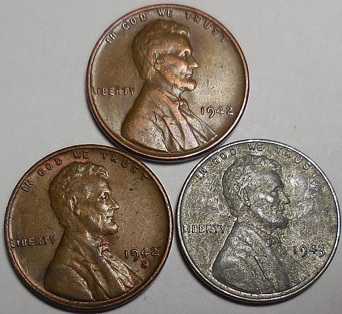 3 Lincoln Wheat Cents 1942-P 1942-S 1943-P