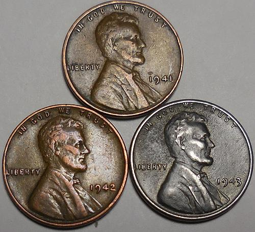 3 Lincoln Wheat Cents 1941 1942 1943