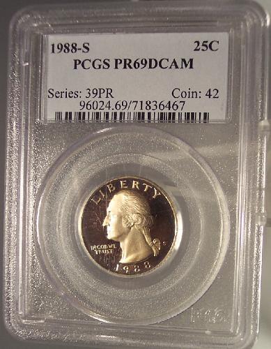 1988-S Clad Proof Washington Quarter PCGS PR69DCAM #G068