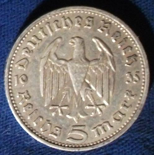 1935D Germany/Third Reich 5 Reichsmark VF