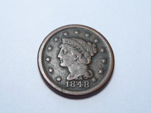 1848 P BRAIDED HAIR LIBERTY HEAD LARGE CENT IN FINE CONDITION K-7-20