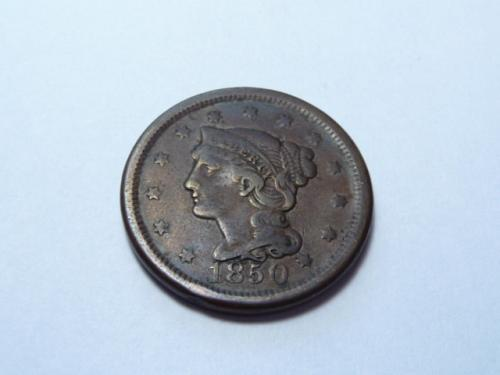 1850 P BRAIDED HAIR LIBERTY HEAD LARGE CENT IN FINE CONDITION K-7-20