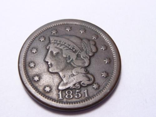 1851 P BRAIDED HAIR LIBERTY HEAD LARGE CENT IN FINE CONDITION K-7-20