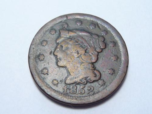 1852 P BRAIDED HAIR LIBERTY HEAD LARGE CENT IN FINE CONDITION K-7-20