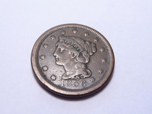 1856 P BRAIDED HAIR LIBERTY HEAD LARGE CENT IN VERY FINE CONDITION K-7-20