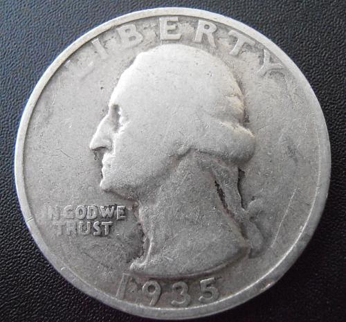 1935 P Washington Silver Quarter,  (35PEW2)