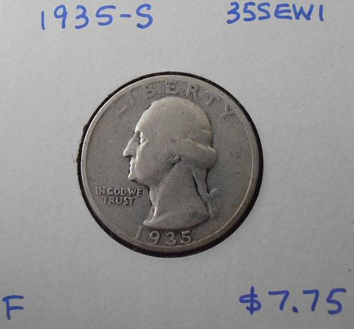 1935 S Washington Silver Quarter,  (35SEW1)