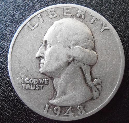 1948 S Washington Silver Quarter,  (48SEW2)