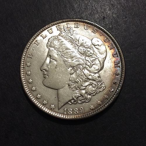 1889 P Morgan Dollar, AU imo, luster and toning (cn3)