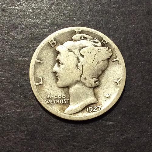 1927 S Mercury Dime, scarce early S mint mercury