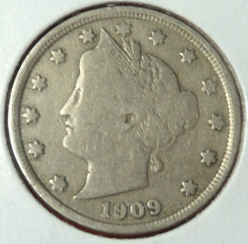 1909 Liberty Nickel  VG10  $5-1909-1