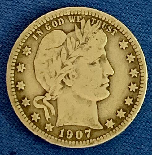 1907 P Barber Quarter. Clear Lettering and Stars. A very nice 112 year old coin.