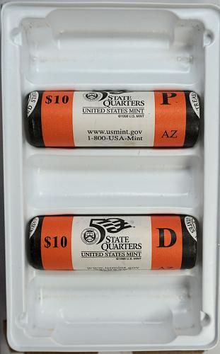 2008 PD Arizona State Quarter $10 Rolls - US Mint Rolls