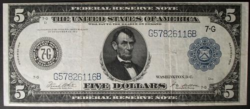 FR# 871B 1914 $5 Federal Reserve Note VF+
