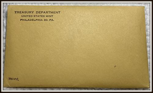 1961 1C-50C United States Mint Silver Proof Set  (Envelope Never Opened)