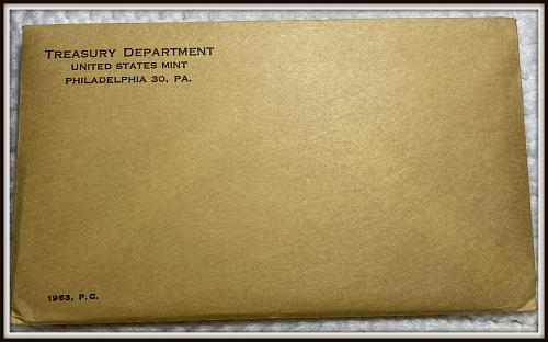 1963 1C-50C United States Mint Silver Proof Set  (Envelope Never Opened)