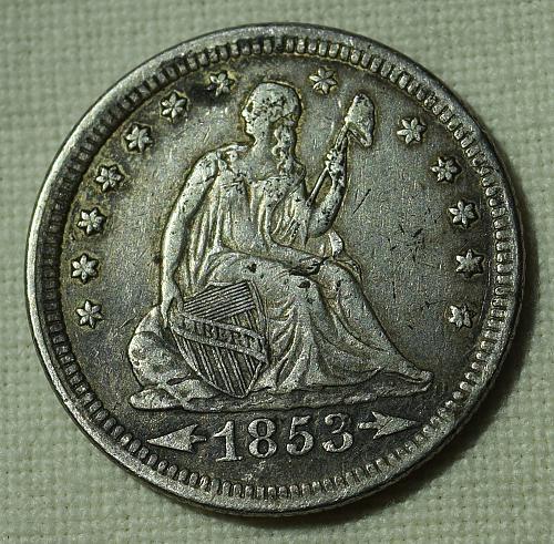1853 P Seated Liberty Quarter