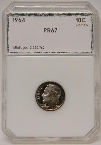 1964 Roosevelt Dime PR67 Cameo Toned 2nd Gen PCI Slab
