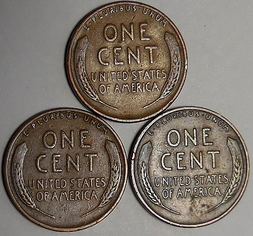3 Lincoln Wheat Cents 1941-P 1942-P 1942-S