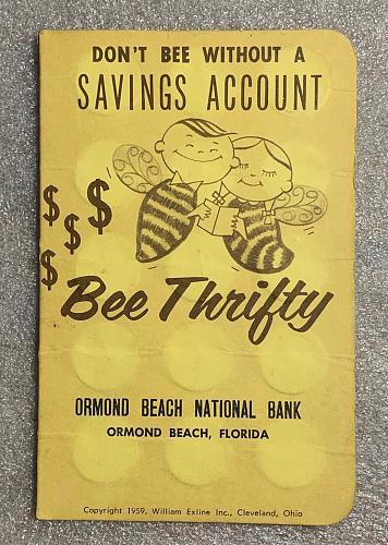 "1959 Ormond Beach ""Bee Thrifty"" Savings Account Mercury Dime Coin Folio"