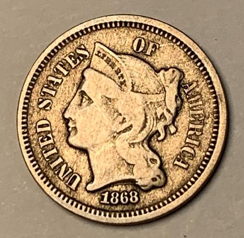 1868 Silver Three Cent AU50 [3c 14]