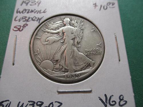 1939  VG8 Walking Liberty Half Dollar.  Item: 50 W39-02.