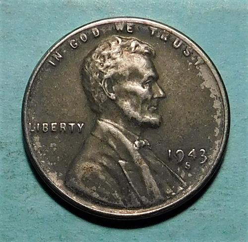 1943 S Lincoln Wheat Steel Cent