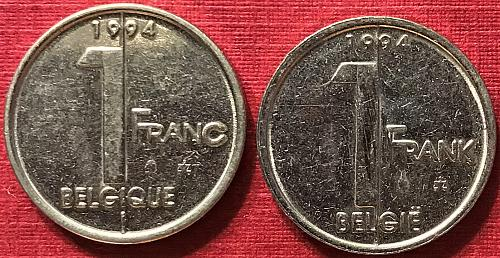 Belgium - 1994 - 1 Frank (Belgie) and 1 Franc (Belgique) [#1]