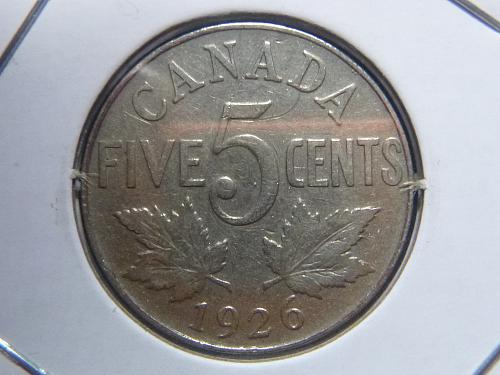CANADA 1926 FIVE CENTS NEAR 6