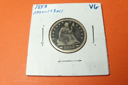 1853 Seated Liberty Quarter Arrows & Rays  VG  #25-1853A/R-1