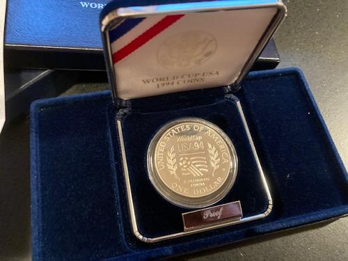 1994 S World Cup Proof Silver Dollar US Mint Soccer Commemorative Coin Box + COA