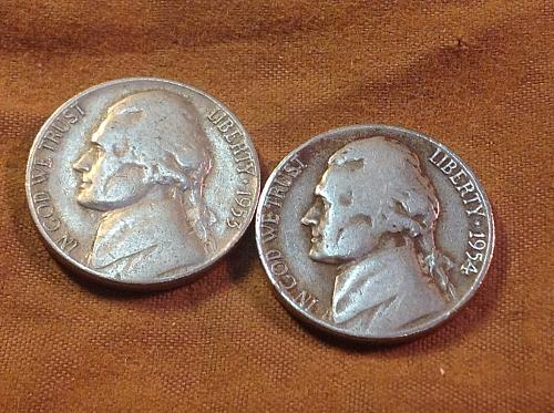 1953 D & 1954 D Jefferson Nickels