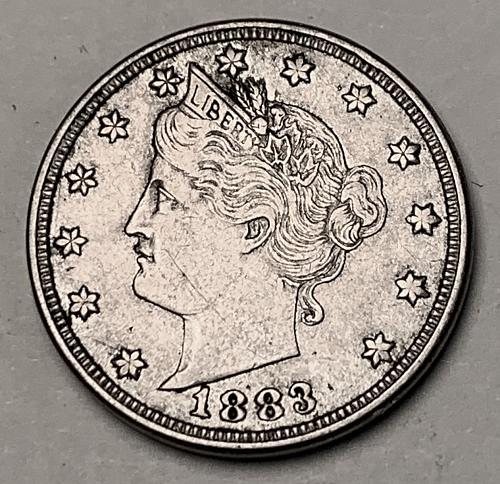 """1883 """"No Cents"""" Liberty """"V"""" Nickel XF [SVB 209]"""