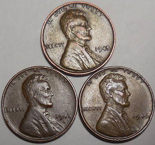 3 Lincoln Wheat Cents 1945-P 1945-S 1946-P