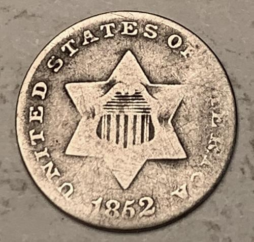 1852 Three Cent Silver VG [3C 16]
