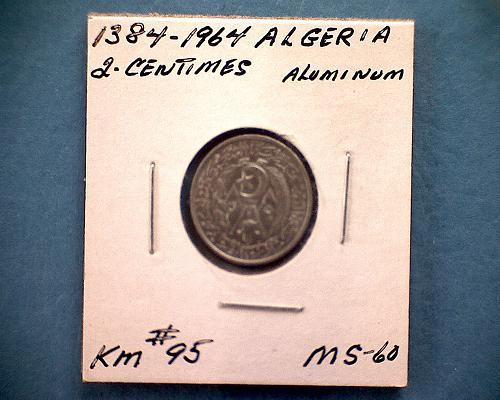 1384 - 1964 ALGERIA  TWO CENTIMES