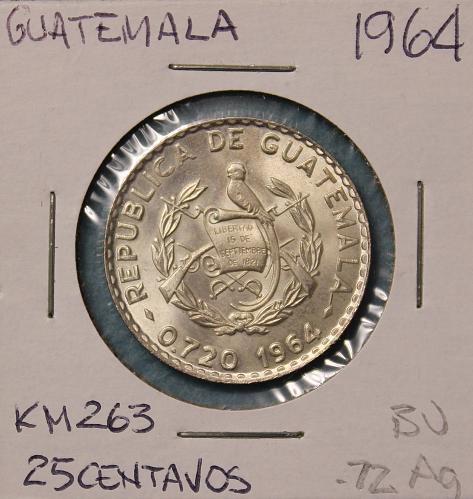 Guatemala 1964 25 centavos