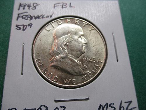 1948  MS62 FBL Franklin Half Dollar.  Item: 50 F48-02.