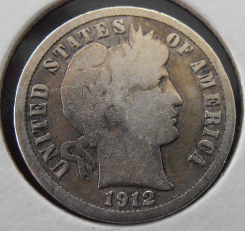 1912 D Barber Silver Dime,   (12DEW1)