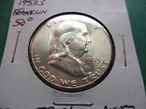 1953-S  AU53 Franklin Half Dollar.  Item: 50 F53S-01.
