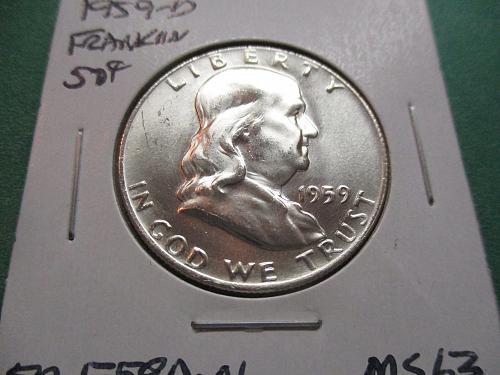1959-D  MS63 Franklin Half Dollar.  item: 50 F59D-01.