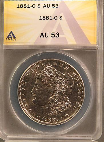1881 O Morgan Dollars Early Silver Dollars AU-53 Beautiful 4 photo's