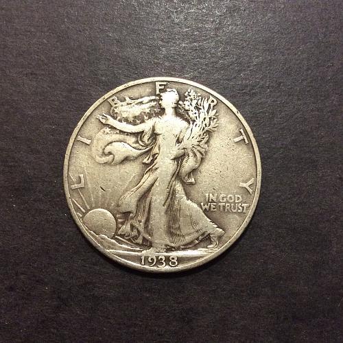 1938 D Walking Liberty Half, lower mintage semi-key date (cn2)
