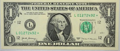 2017 Series $1 Federal Reserve Note ***Star Note***