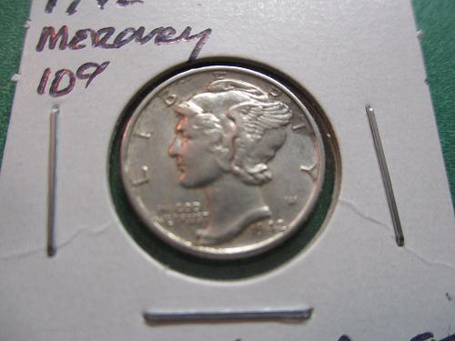 1942  AU55 Mercury Dime.  Item: 10 M42-06.
