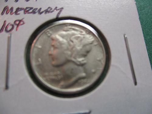 1944  AU50 Mercury Dime.  Item: 10 M44-03.