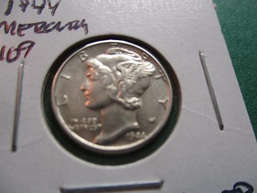 1944  AU58 Mercury Dime.  Item: 10 M44-04.