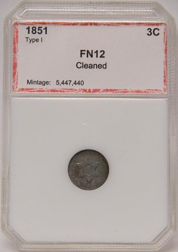 1851 Three Cent Silver F12 Cleaned PCI Red Slab
