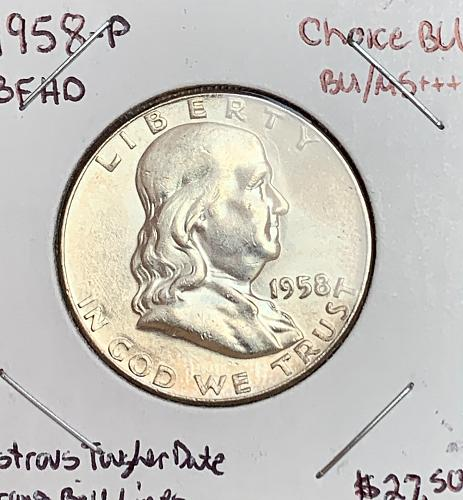 1958-P High Grade Choice BU/MS++ Lustrous Strong Bell Lines - Franklin Half Doll