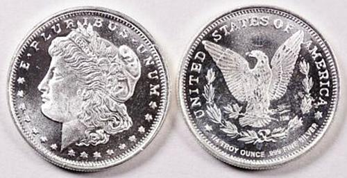 Morgan Dollar Design 1/4 Troy Ounce .999 Fine Silver Round  5 photo's V2P4R2
